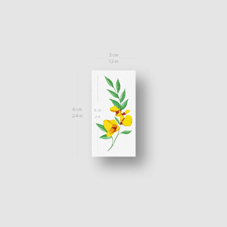 Yellow Flower Temporary Tattoo by Zihee - Set of 3