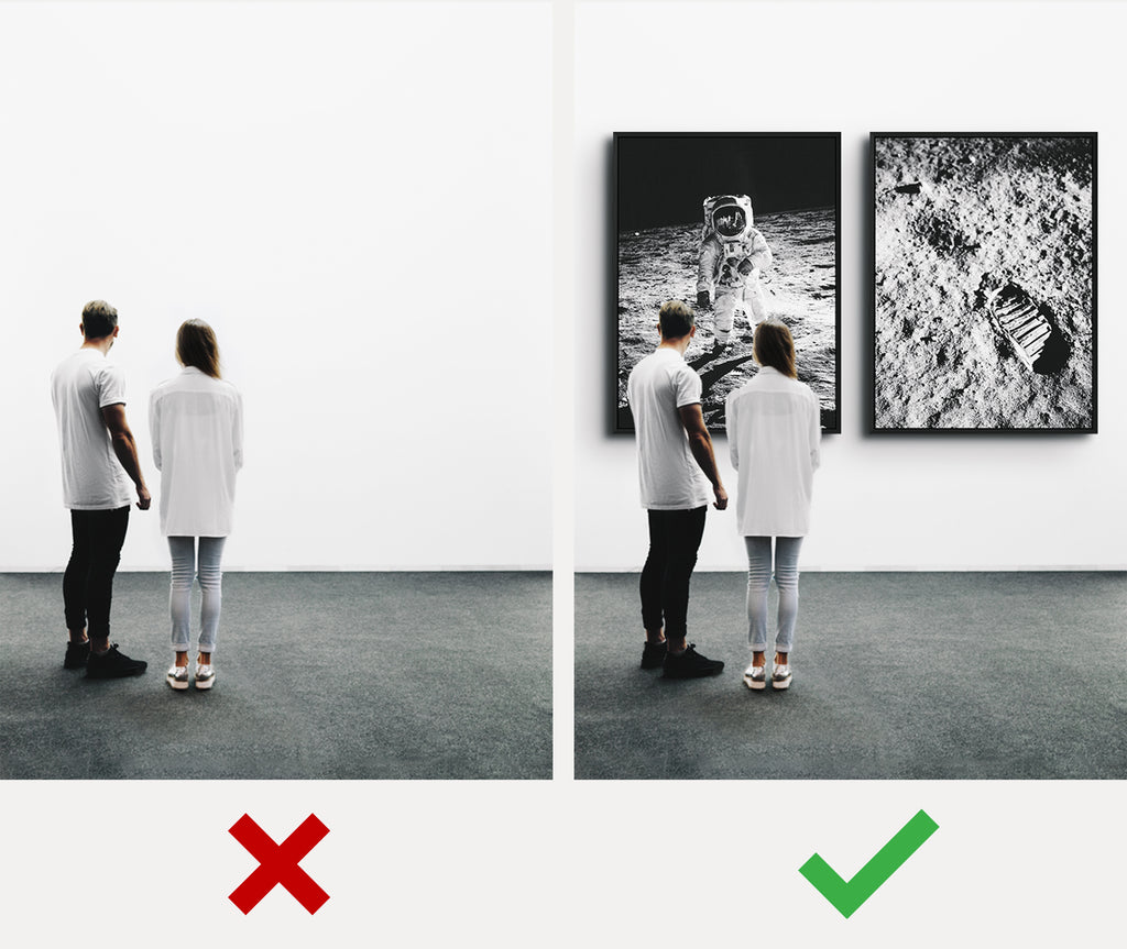 before and after empty walls transformation - iFul Canvas Wall Art for Men