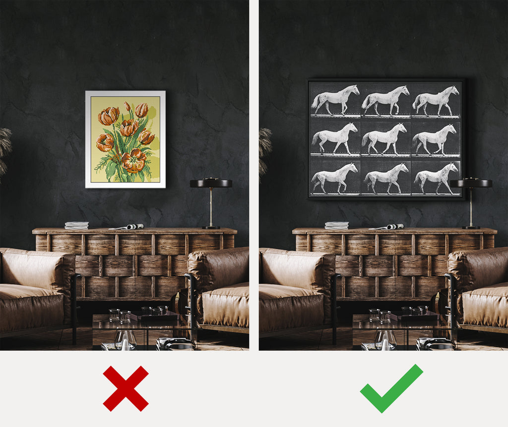 before and after masculine wall art for home or office - iFul Home Decor