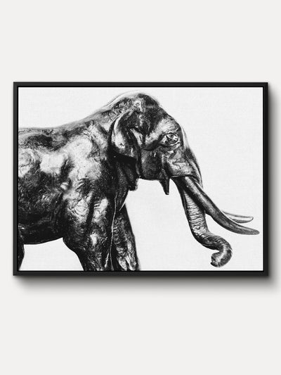Black and White Elephant Animal Framed Canvas Wall Art - iFul