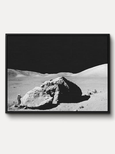 White and Black Lunar Boulder Space Moon Framed Canvas Wall Art - iFul