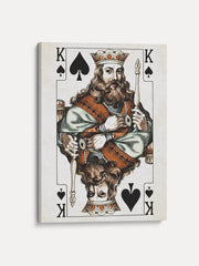 Vintage Playing Cards King Spades Unframed Canvas Wall Art  - iFul