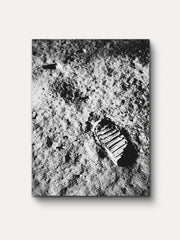 Black and White Apollo 11 First Footprint on Moon Space Unframed Canvas Wall Art - iFul