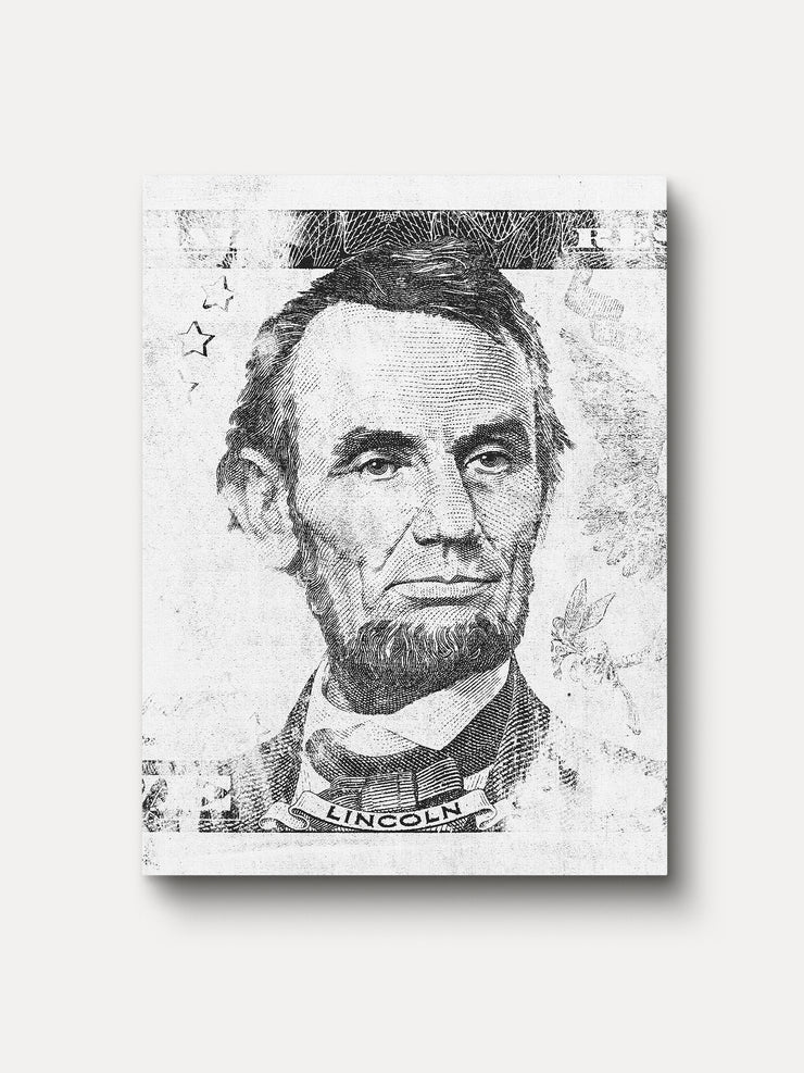 Black and White President of United States Abraham Lincoln Unframed Canvas Wall Art - iFul