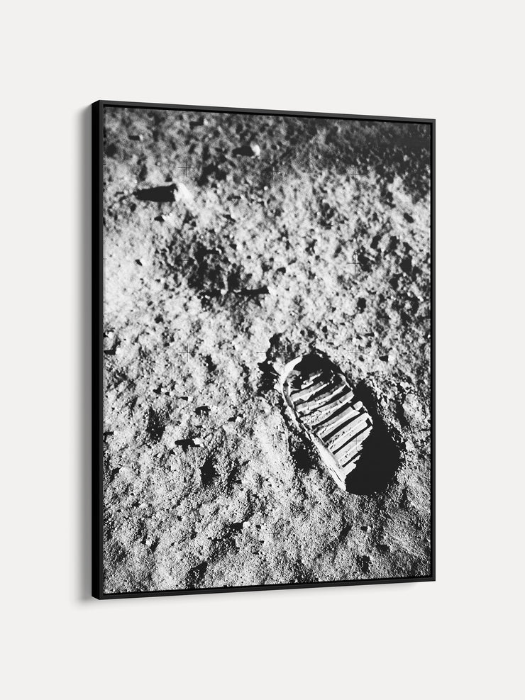 Black and White Apollo 11 First Footprint on Moon Space Framed Canvas Wall Art - iFul