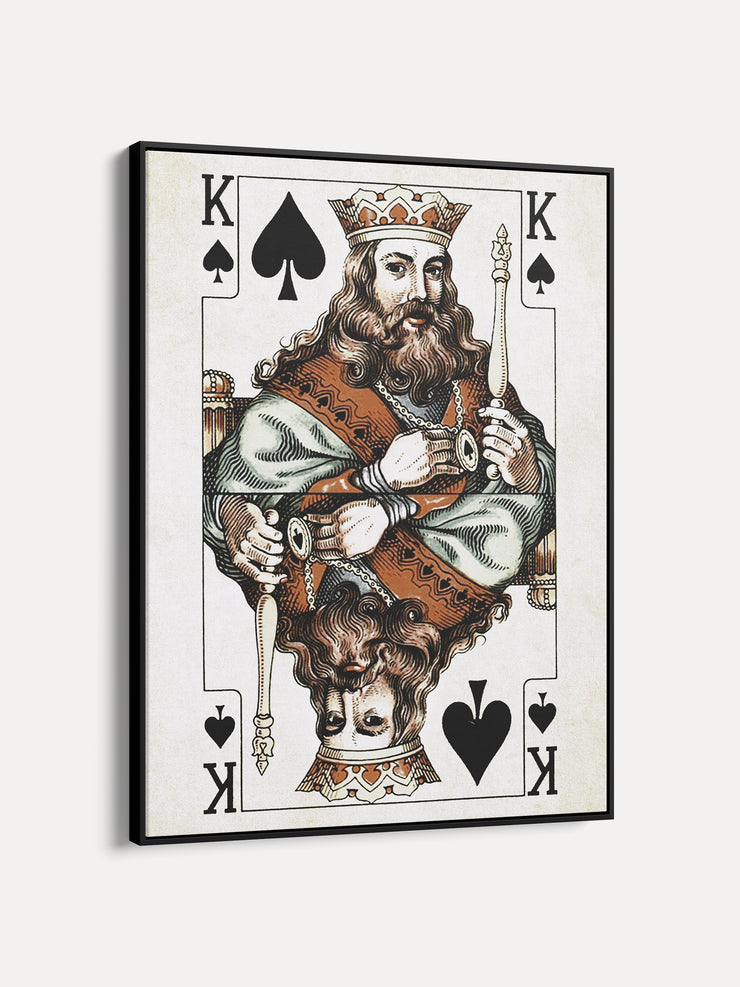 Vintage Playing Cards King Spades Framed Canvas Wall Art  - iFul