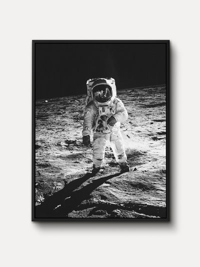 Black and White Apollo 11 Moon Landing Space Framed Canvas Wall Art - iFul