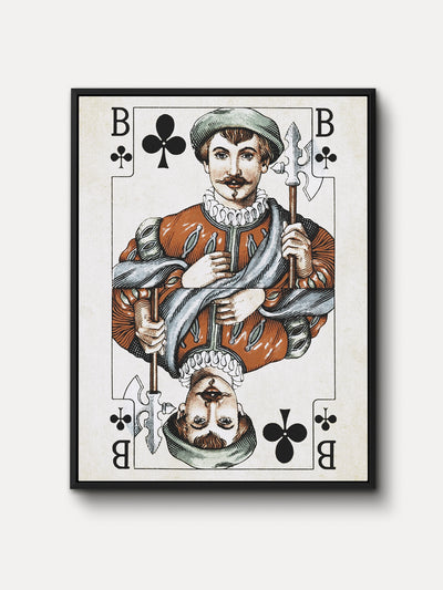 Vintage Playing Cards Jack Clubs Framed Canvas Wall Art - iFul