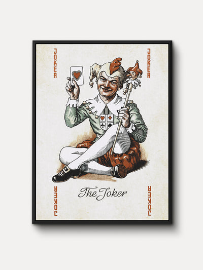 Vintage Playing Cards Joker Framed Canvas Wall Art - iFul