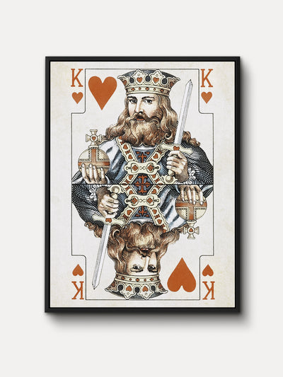Vintage Playing Cards King Hearts Canvas Wall Art - iFul