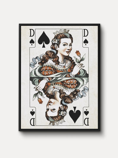 Vintage Playing Cards Queen Spades Canvas Wall Art - iFul