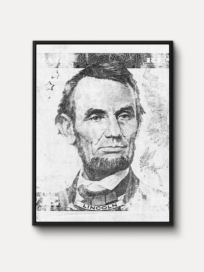 Black and White President of United States Abraham Lincoln Framed Canvas Wall Art - iFul