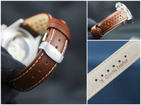 Genuine Italian leather watch strap 20mm Alpha logo - ALPHA EUROPE
