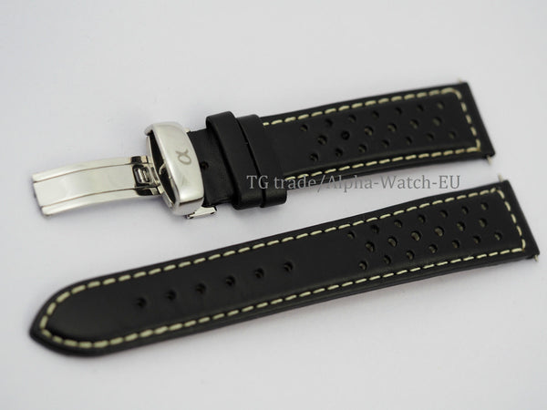 Genuine Italian leather watch strap 20mm Alpha logo
