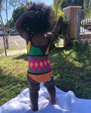 K is for Kente little girls swimsuit