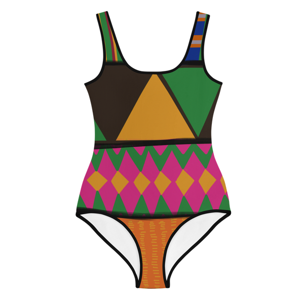 K is for Kente big girls swimsuit