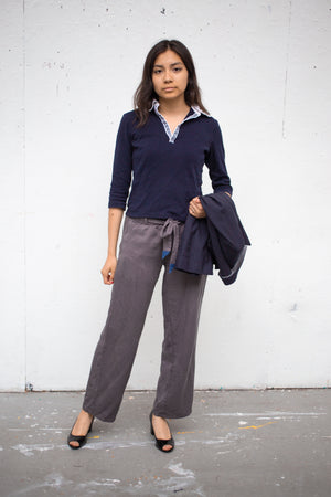 Paola wears NYC Travel Pants in Himalayan Gray Size S (Front View)