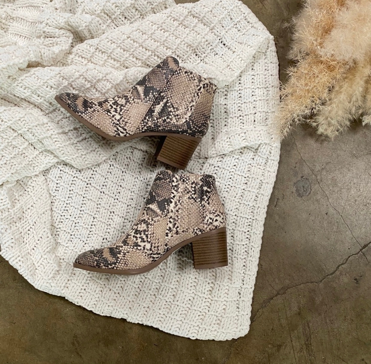 """I AM STRONG"" FAUX SNAKE PRINT BOOTIES"
