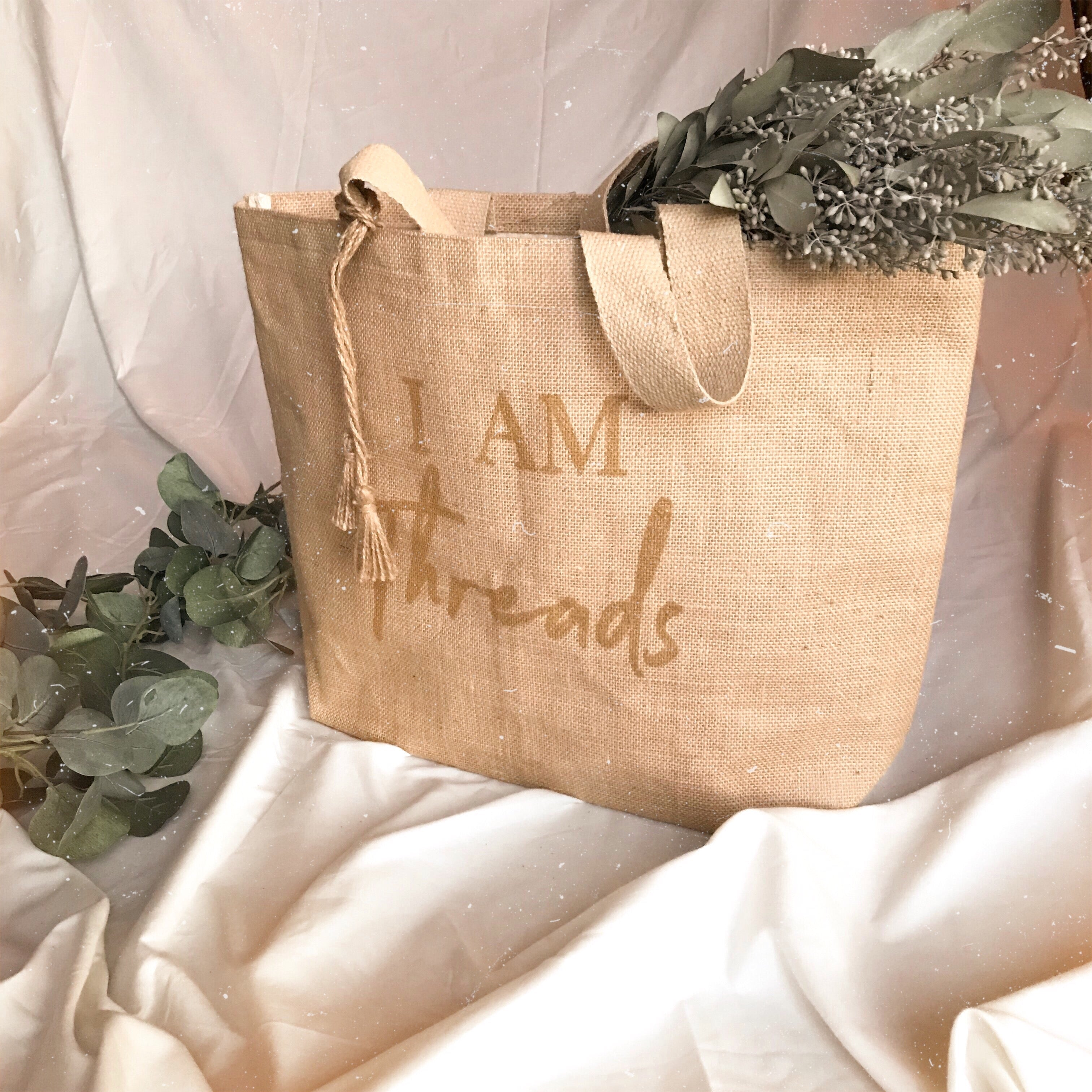 I AM THREADS JUTE TOTE BAG
