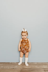 Floral Onesie -Dark brown