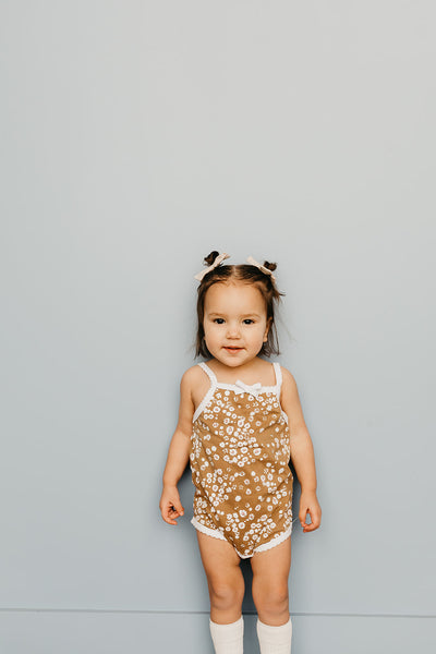 Floral Onesie -Light Brown