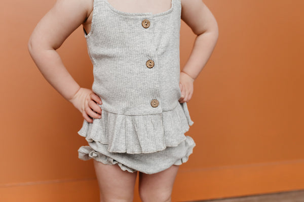 Margot Ribbed Set-Gray