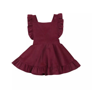 Velvet Apron Dress- Wine