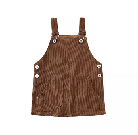 The Nora Overall Dress/ Brown