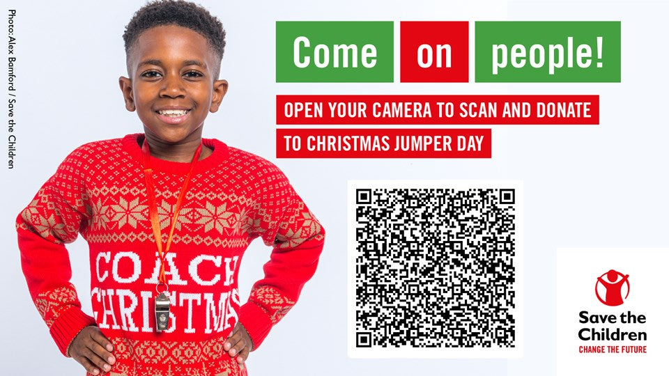 Save the children Christmas jumper day QR code link