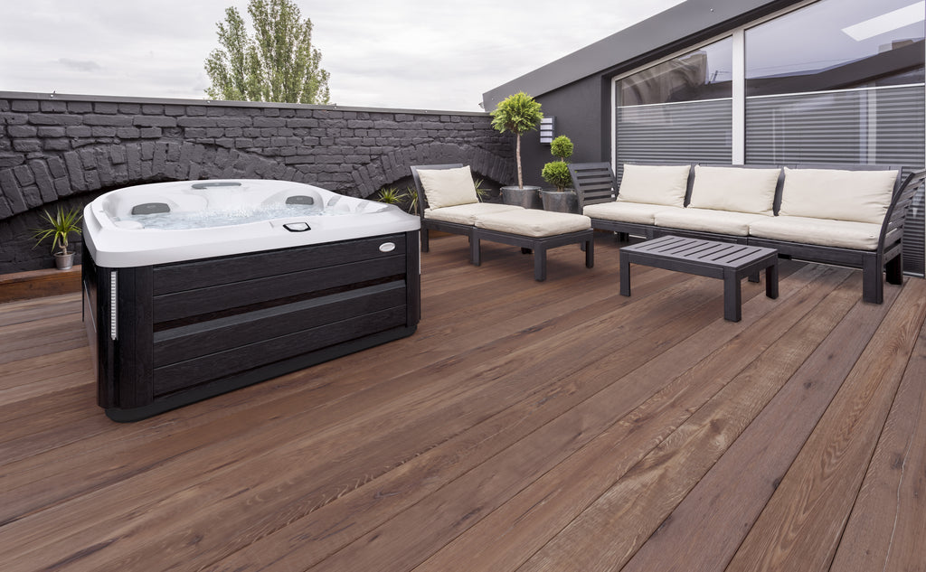 outdoor living hot tub on decking