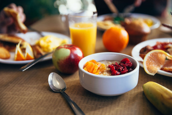 morning breakfast with fruit and cereal