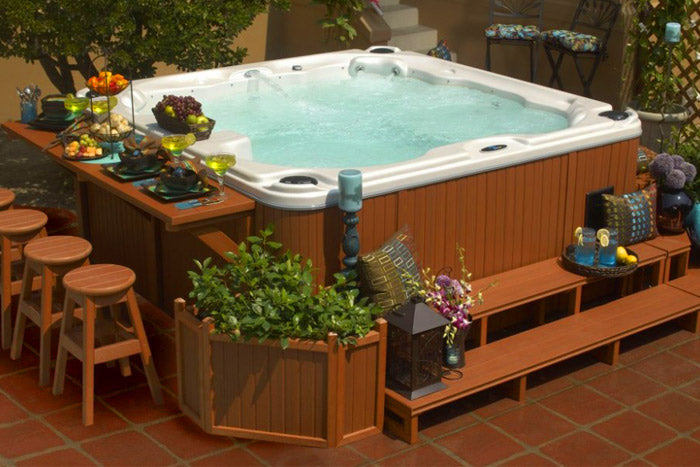 A hot tub with a bar