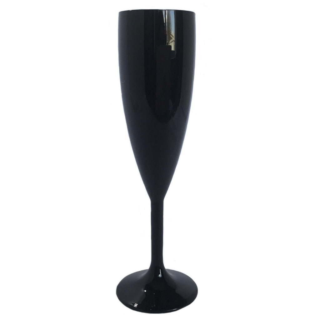 Champagne Glass (Black) - Plastic & Dishwasher Safe