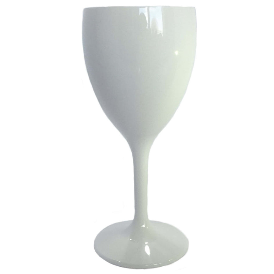 Wine Glass (White) - Plastic & Dishwasher Safe