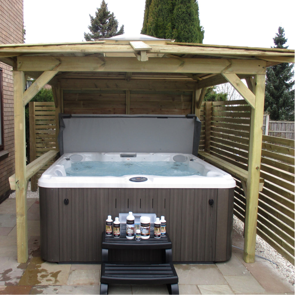 jacuzzi j235 hot tub with gazebo outdoor living. Black Bedroom Furniture Sets. Home Design Ideas