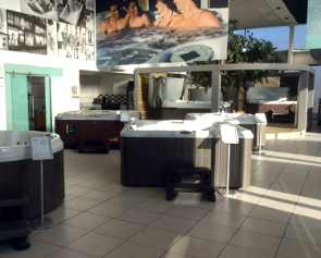 Outdoor Living Leeds interior showing hot tubs on display