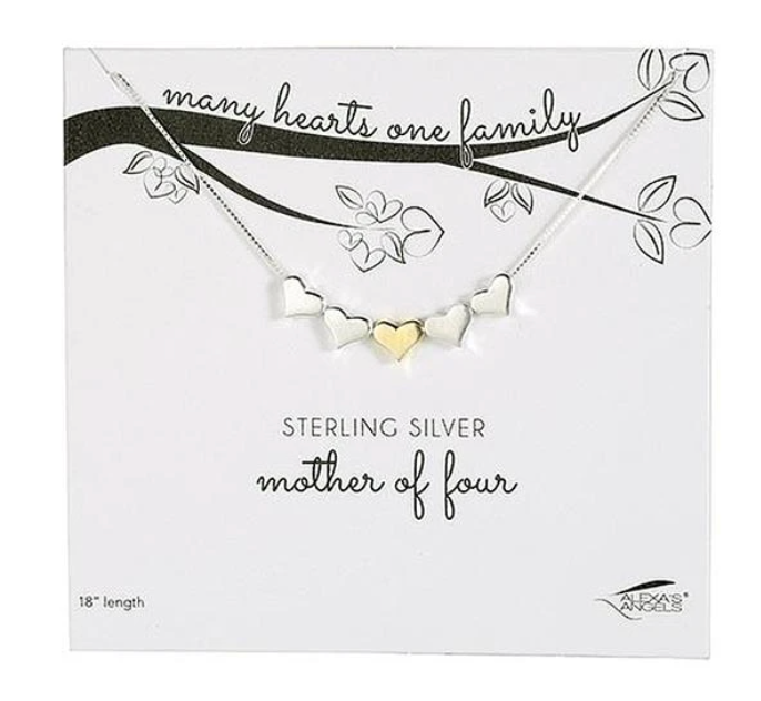 Mother Of... Sterling Silver & Gold Hearts Necklace