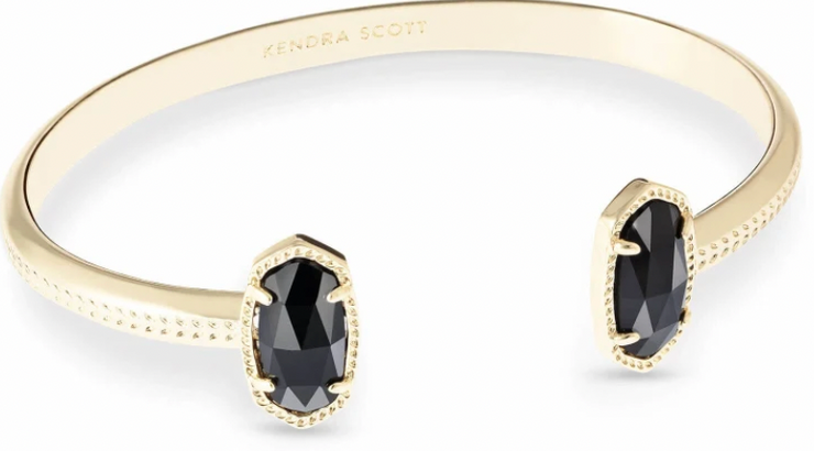 Kendra Scott Gold Elton Cuff Bracelet in Black Opaque Glass