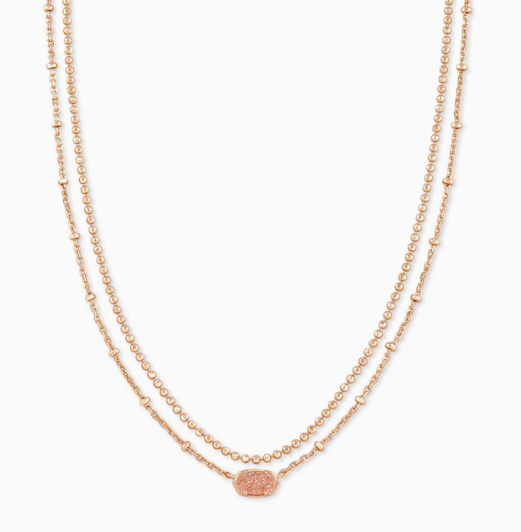 Kendra Scott Emilie Rose Gold Multi Strand Necklace In Sand Drusy