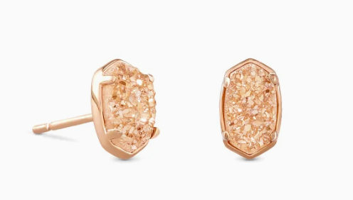 Kendra Scott Emilie Rose Gold Stud Earrings In Sand Drusy
