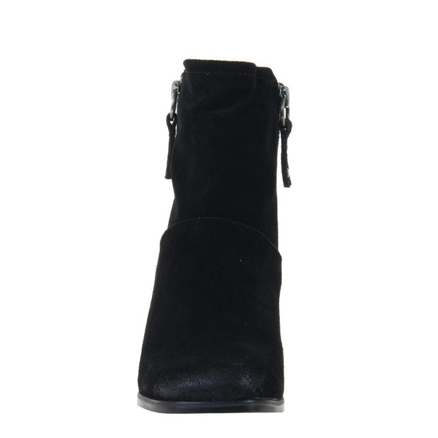 LONG RIDER in BLACK SUEDE, front view