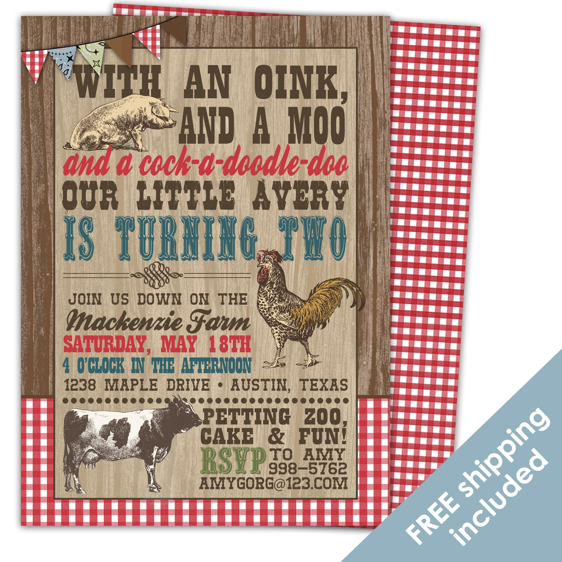 Load Image Into Gallery Viewer On The Farm Birthday Invitation For A Barnyard Party
