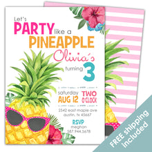 Load image into Gallery viewer, Party Like a Pineapple Birthday Invitation for a Pineapple Birthday Party Theme