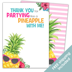 Party Like a Pineapple Thank You Card for a Pineapple Birthday Party Theme