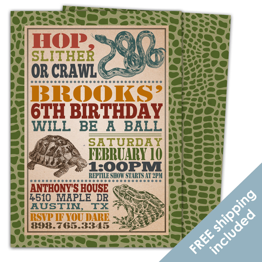 Reptile Birthday Invitation for a Reptile Birthday Party Theme