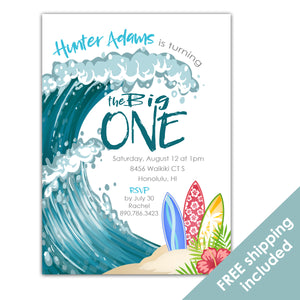 The Big One Invitation, Surfs Up Birthday Invitation for a Beach Birthday Party Theme