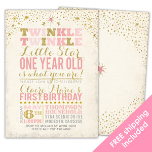 Twinkle Twinkle Little Star First Birthday Invitation for a Twinkle Twinkle Little Star Party