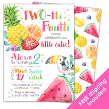 Load image into Gallery viewer, Twotti Fruitti Birthday Invitation for a Twotti Fruitti Birthday Party.