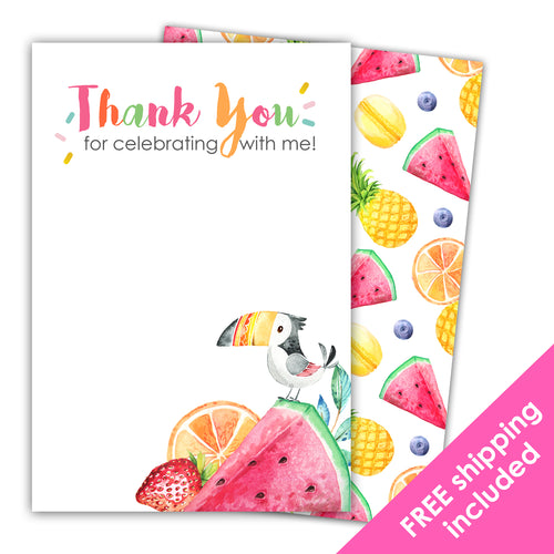 Twotti Fruitti Thank You Card for a Tutti Frutti Birthday Party Theme