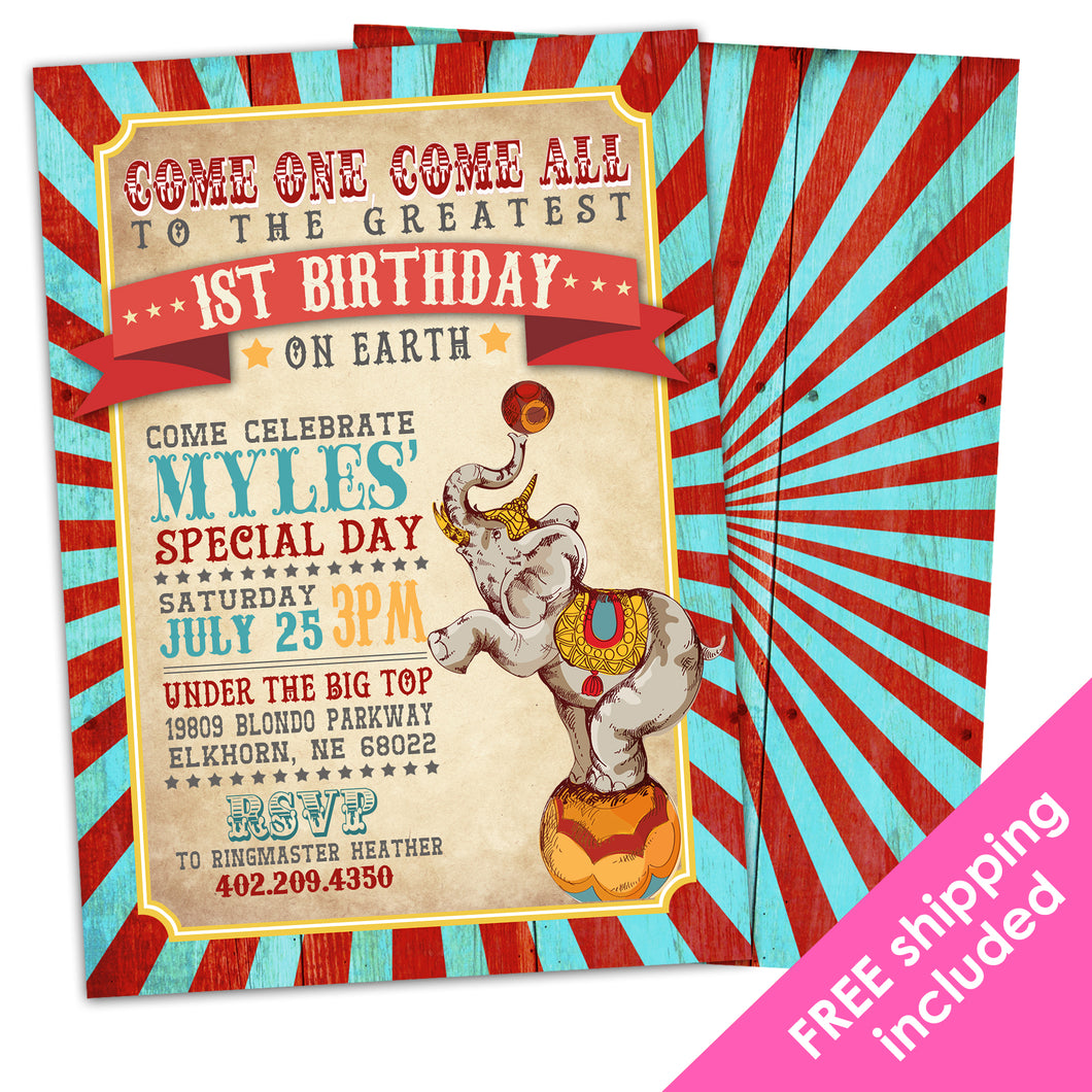 Greatest Showman Birthday Invitation for a Vintage Circus Birthday Party